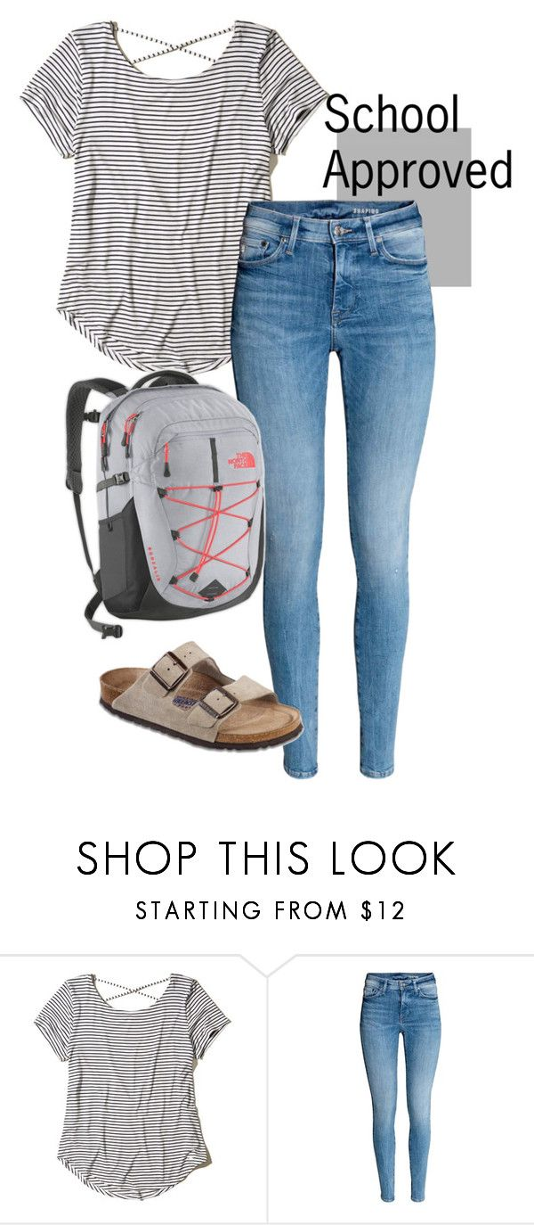 """""""School Approved outfit"""" by isizuniga on Polyvore featuring Hollister Co., Birkenstock, The North Face, school and schooloutfit"""