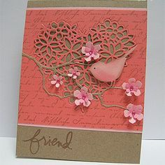 handmade greeting card ... kraft and coral .. die cuts ... lacy heart ... delicate branches with layered buds ... little bird (similar to SU bird punch) ...
