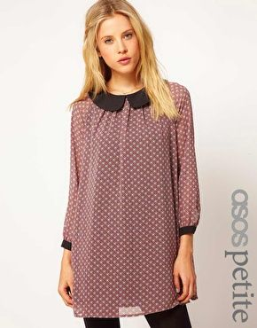 ASOS PETITE Exclusive Swing Dress In Print With Peterpan Collar