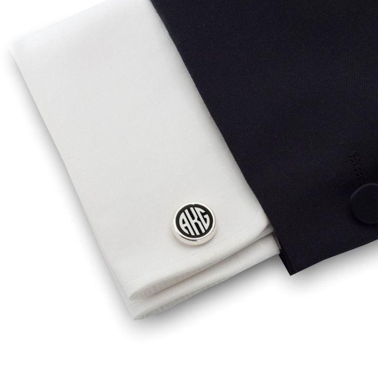 Czarne spinki do mankietów z monogramem na Onyksie | srebro 925 | ZD.109