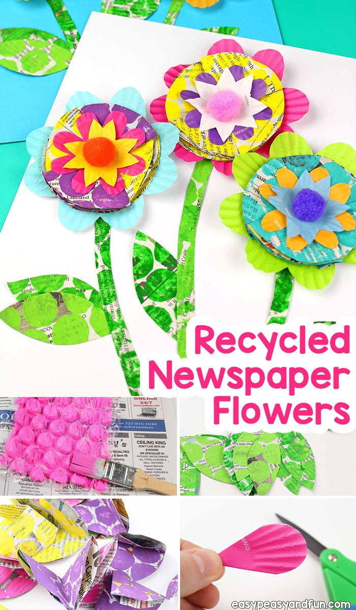 Newspaper Flowers Recycled Craft For Kids Easy Peasy And Fun Newspaper Flowers Recycled Crafts Kids Paper Crafts For Kids