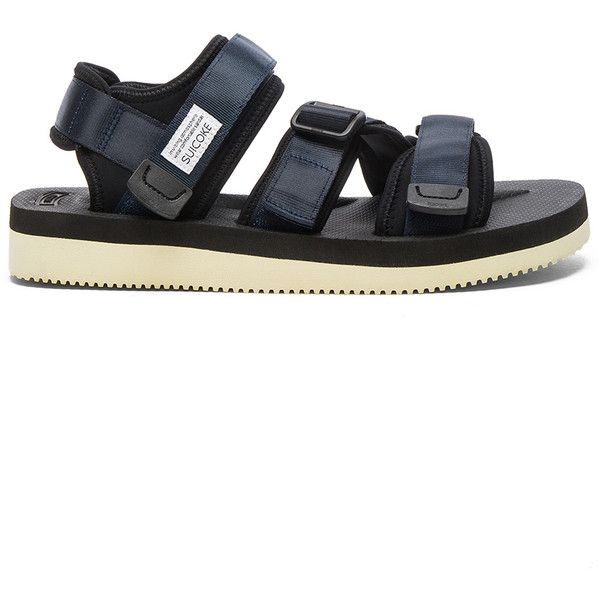 Suicoke KISEE-V Sandal (1,170 CNY) ❤ liked on Polyvore featuring men's fashion, men's shoes, men's sandals, sandals, mens velcro sandals, mens velcro shoes and mens velcro strap shoes
