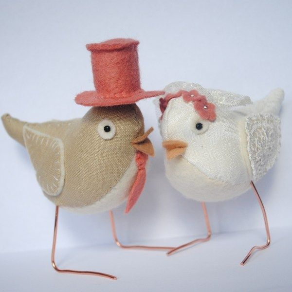 Wedding bird cake toppers - Fabric birds with watermelon accents £15.00