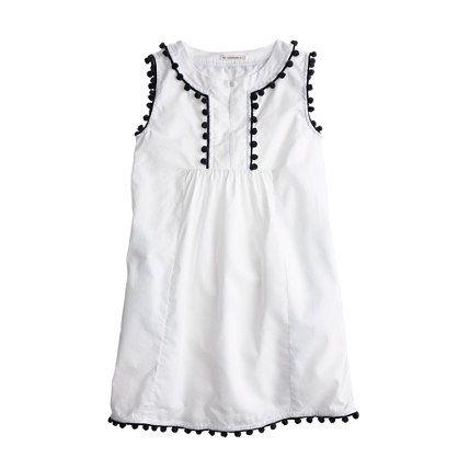Girls' pom-pom dress in white - party - Girl's dresses - J.Crew
