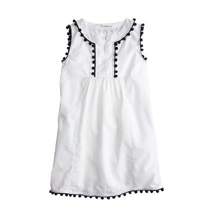 J.Crew Girls' pom-pom dress in white
