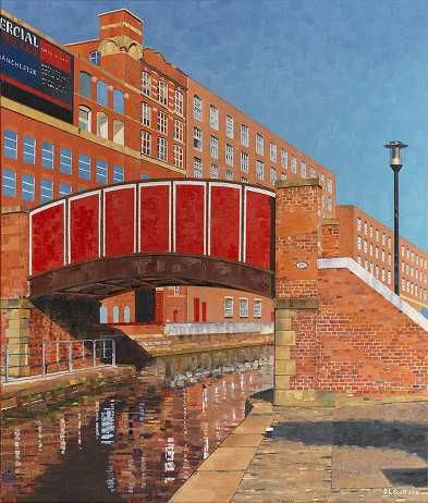 """Red bridge over Rochdale Canal"" by Manchester artist S L Scott"