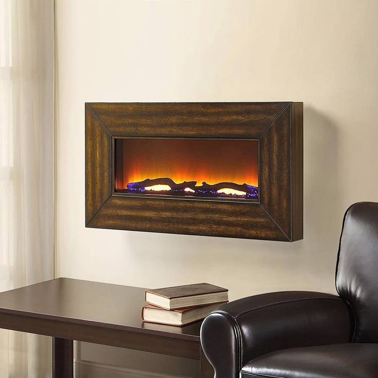 New Bayside Furnishings Kenai Wall Mount Electric Fireplace w/ Remote & 2 Frames #BaysideFurnishings