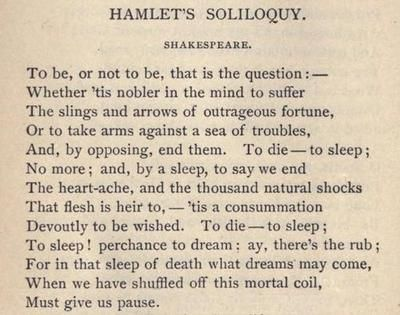 The most infamous of Hamlet's speech is this particular soliloquy.This was a decision we had both contemplated for much time though during separate occasions. This soliloquy exaggerates Hamlet's confusion and indecisiveness in the story as he goes over every choice he has.