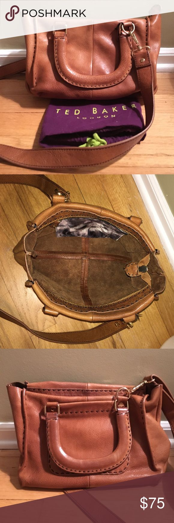 Ted Baker cross body Cheaper on Ⓜ️erc. Beautiful brown leather with small zip pocket inside and small pocket on outside of bag. In extremely good condition! Still love this bag just don't get much use since I usually wear black Ted Baker Bags Crossbody Bags