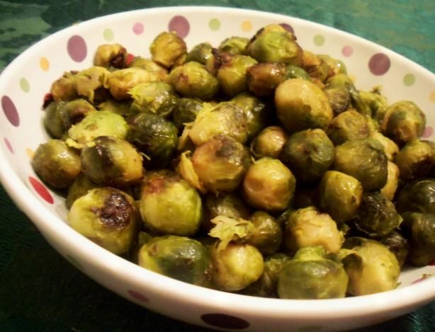 Oven Roasted Brussels Sprouts. It's best not to put in 3 tbs of Kosher salt. I think 1 or less would be plenty!