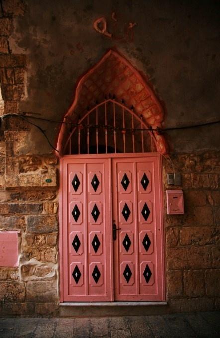 IsraelAwesome Doors, Red Doors, The Doors, Coral Doors, Beautiful Doors, Unique Doorsknob, Israel Food, Old Doors, Pink Doors