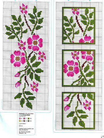 Cross-stitch Floral Bookmark ...    Мотивы для вышивки крестом | РУКОДЕЛИЕ