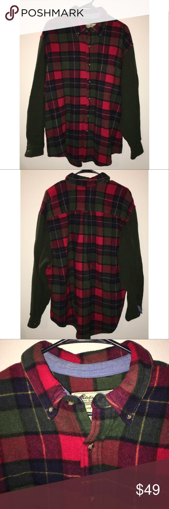 EDDIE BAUER Outdoor Outfitters Wool Plaid Shirt XL This is an EDDIE BAUER Outdoor Outfitters Wool Plaid button Shirt in a sz XL, red and green plaid with hunter green sleeves, gently used condition! I ship fast! Happy poshing friends! Eddie Bauer Shirts Casual Button Down Shirts