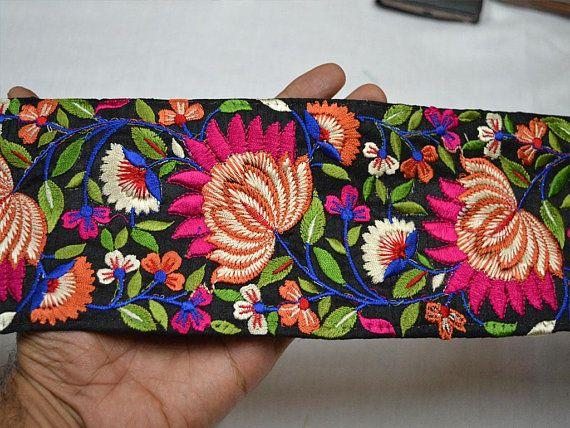 Orange Fabric Trim and Embellishment Embroidered Indian Trim By The Yard Saree Ribbon  Silk Sari Border Decorative Sewing Crafting