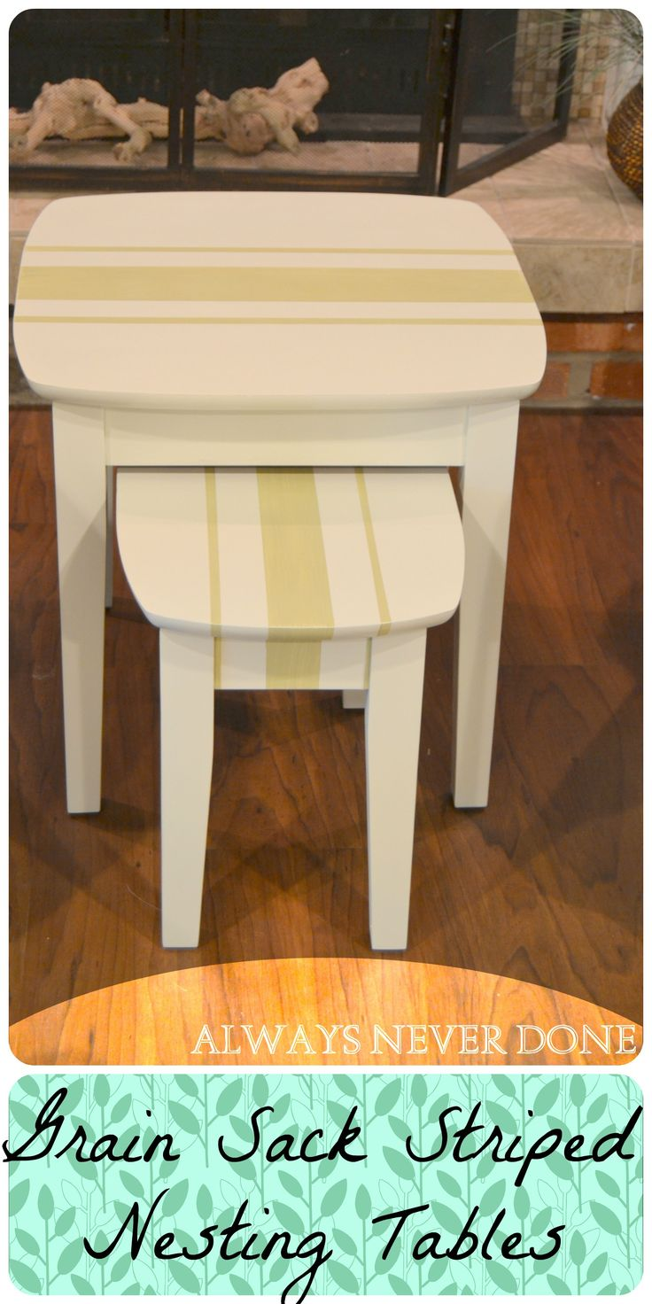 How to paint grain sack stripes on nesting tables.