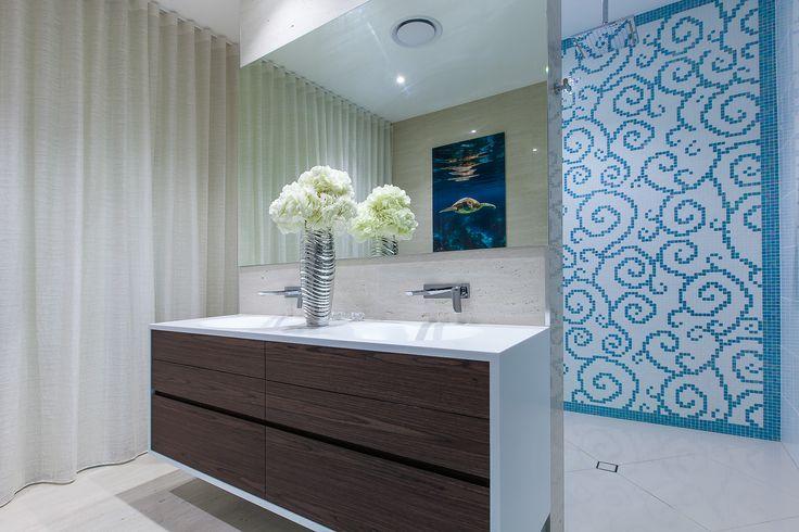 luxury bathroom, master ensuite, white top, dark timber, floating vanity, corian, molded basins, integrated basins, finger pulls, minka joinery