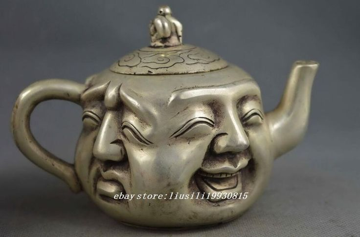Collectible Handwork Old Miao Silver Carve 4-Side Buddha Head Exorcism Tea Pots