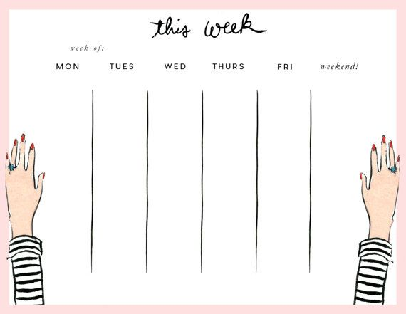 Week at a Glance Pad: Striped Tee by AThingCreated on Etsy