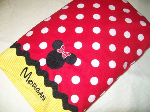 Minnie Mouse Travel Pillowcase with name.