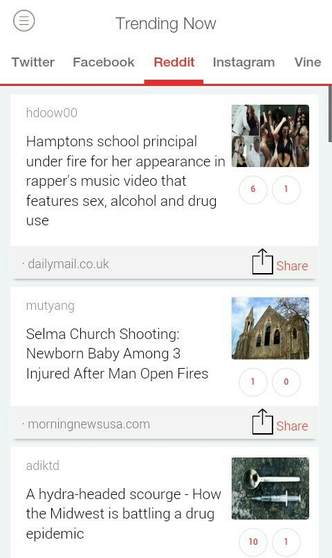 Top Trends This Hour on #Reddit (USA)  #Hamptons #school #principal under fire for her appearance #in rapper's #music video that #features #sex, #alcohol and #drug use.  #mutyangSelma #Church #Shooting: #Newborn Baby Among 3 #Injured After Man Open Fires.  A #hydra-headed scourge - How the #Midwest is battling a drug #epidemic.  Get #TrendsToday App for More Updates.