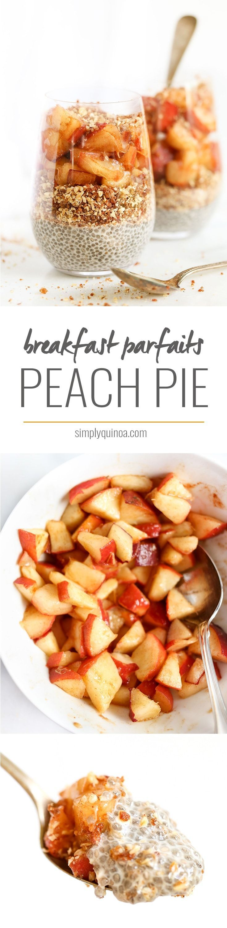 The ultimate way to start your day >> PEACH PIE BREAKFAST PARFAITS. All clean eating ingredients are used for this healthy breakfast recipe. Pin now to make later this week!