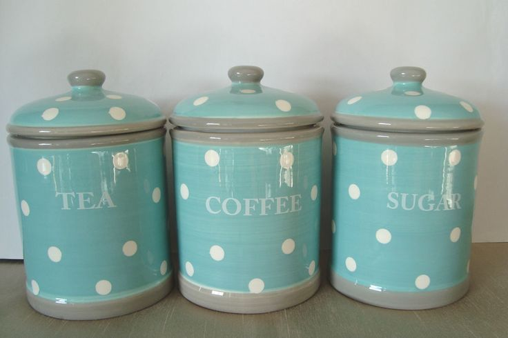 Duck Egg Blue With White Spots Polka Dots Ceramic Tea Coffee Sugar Canisters Jar in Home, Furniture & DIY, Cookware, Dining & Bar, Food & Kitchen Storage | eBay