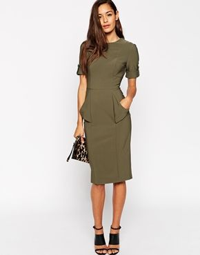 Enlarge ASOS Pencil Dress with Fold Pocket Military Detail
