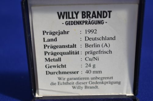 Other Antiques & Collectables - Willy Brandt Medal - In Box for sale in Durban (ID:310402950)