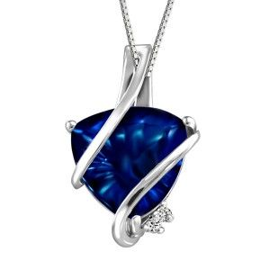 Silver 0.005 ctw Diamond and Sapphire pendant, chain included. PEN-SIL-1633