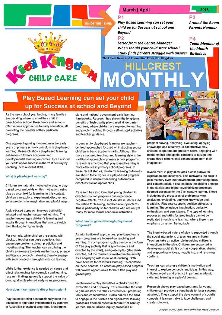 ✉️ Welcome to the March / April Edition of Kidi Kingdom - Hillcrest News.  #Newsletter #ChildCare #Kindergarten #Children #Child #Kid #Kids #Fun #Happy