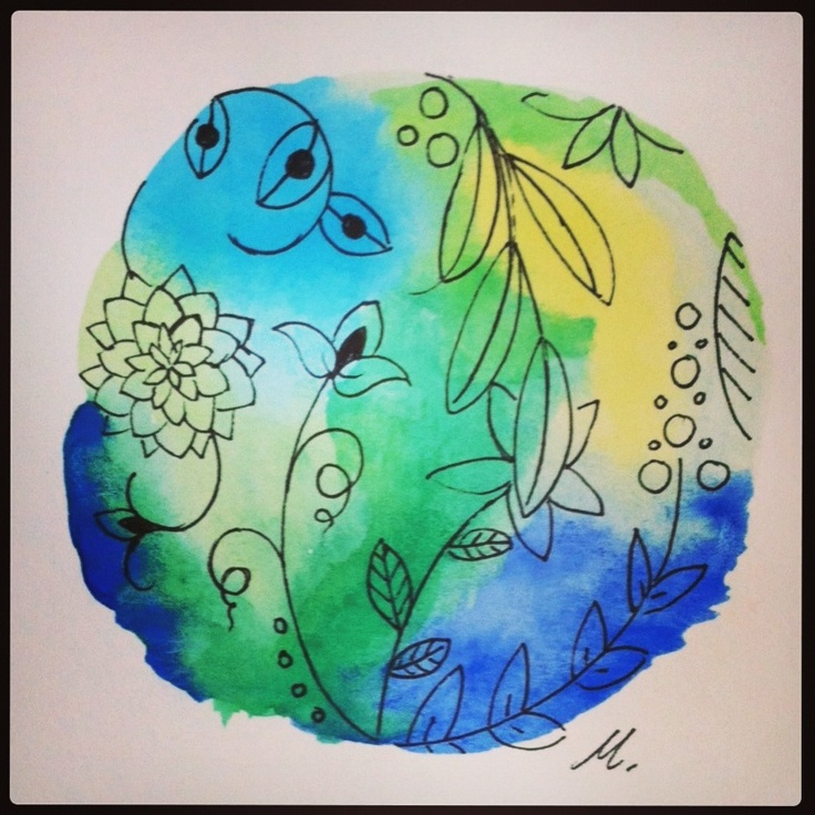 Blue and green watercolor. Inspired by another pinner :)