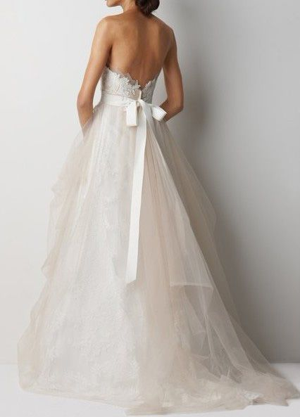 Wedding Dresses Pictures - A-Line Ball Gown Strapless Sweetheart Satin Tulle Wedding Dress - Style WD6178
