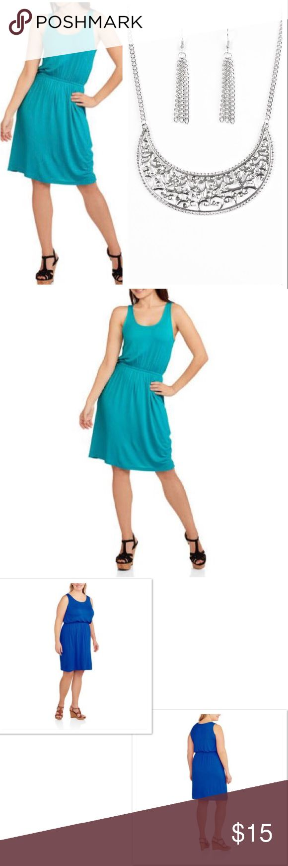 NwT Aqua Tank Dress & Silver Necklace w Earrings NWT Aqua Color Dress,The Faded Glory Women's Casual Scoop Neck Dress with Flattering Waist Seaming is a breezy and chic top that's perfect. It's made of soft and lightweight rayon and has a flattering elastic waistband that flatters your figure. This dress also has a generous scoop neckline that's breathable and nonrestrictive, as well as a knee-length hem. ❌Price Firm❌ 95% rayon, 5% spandex Faded Glory Dresses Midi