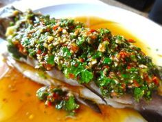 Steamed Rainbow Trout with Asian Pesto Dressing