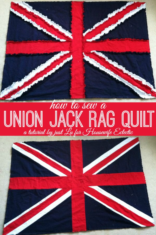Housewife Eclectic: Union Jack Rag Quilt Tutorial