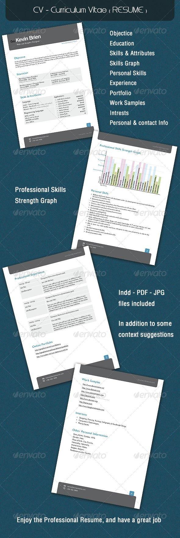 CV  Curriculum Vitae ( RESUME ) — InDesign INDD #portfolio #profile • Available here → https://graphicriver.net/item/cv-curriculum-vitae-resume-/143808?ref=pxcr