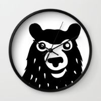BEAR IN THE FOREST Wall Clock #funny #bear #animal #forest #kids #b&w # black #white #happy