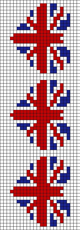 British flag heart alpha friendship bracelet pattern
