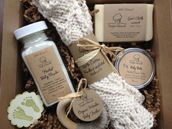 Baby Bath Gift Set - All natural organic baby soap, baby powder, baby balm, cotton washcloth & wooden teether via Etsy