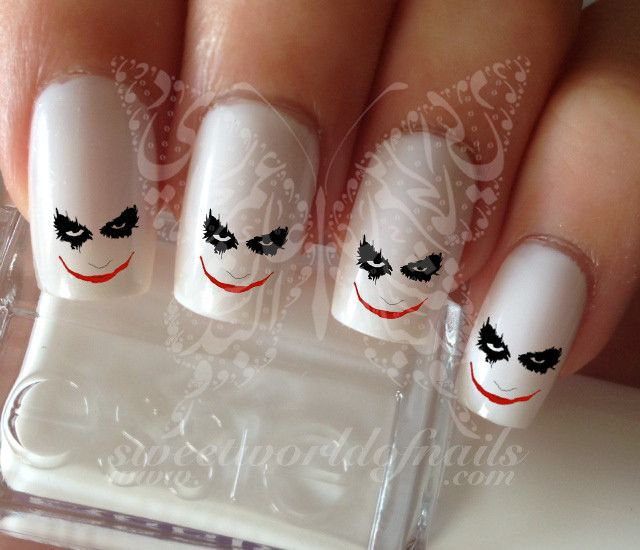 Joker Face Water Decals Nail Transfers Wraps