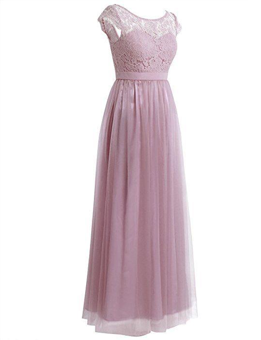 3bb3818cdbac iEFiEL Damen Kleid festlich Spitzenkleid Cocktailkleid Ärmellos elegante  Hochzeit Kleider Lange Brautjungfernkleid Altrosa 34 (Herstellergröße
