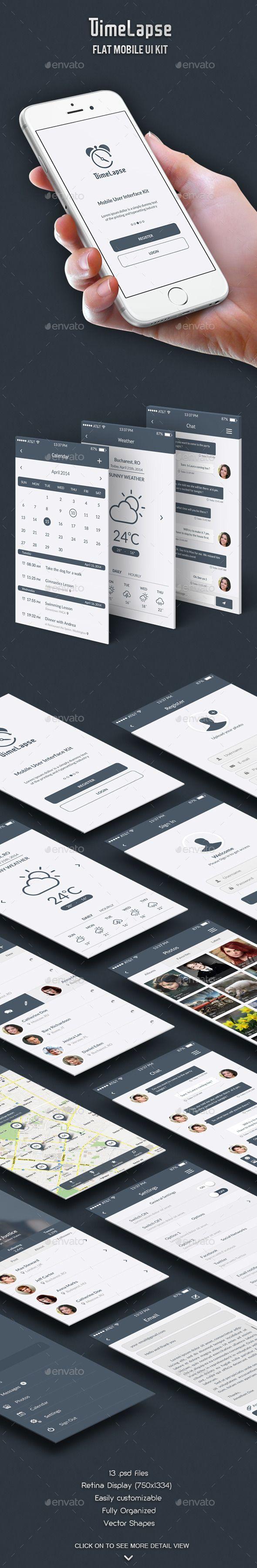 Timelapse - Flat Mobile UI Kit Template PSD #design Download: http://graphicriver.net/item/timelapse-flat-mobile-ui-kit/7516345?ref=ksioks