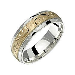 Alain Raphael 2 Tone Sterling Silver and 10k Yellow Gold 7 Millimeters Wide Wedding Band Ring