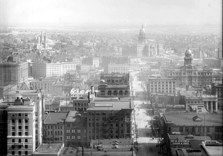 view of Denver, Colorado from Daniels & Fisher Tower, 16th & Arapahoe southeast down 16th towards Colorado State Capitol building and grounds, Colorado State Museum (Colorado State Historical Society) at East 14th Avenue and Sherman Street under construction, Arapahoe County Court house, Immaculate Conception Cathedral, edge of Brown Palace, Y.M.C.A. 1912.