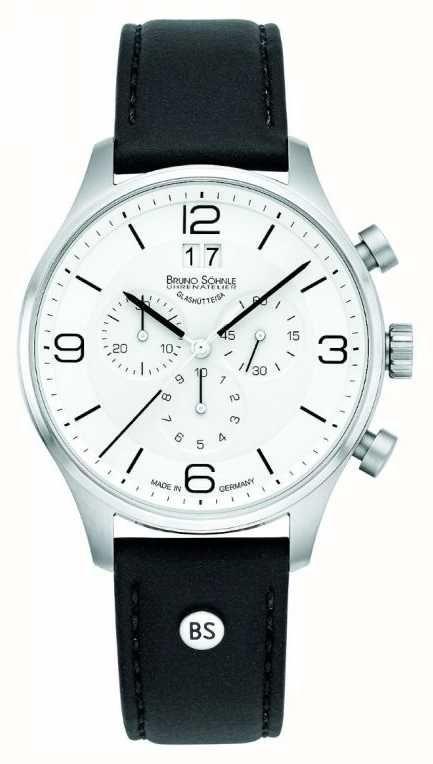 ea9840a0519b Bruno Söhnle Mens Padua 42mm Chronograph White Dial Black Leather Strap