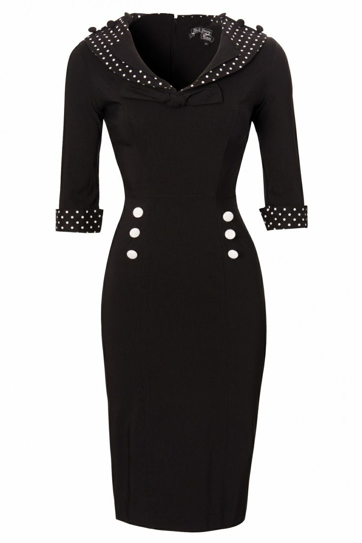 Topvintage.nl - Bunny - Bunny - 50s Thelma Pencil Dress black white polka  Net besteld...gaat ie passen?