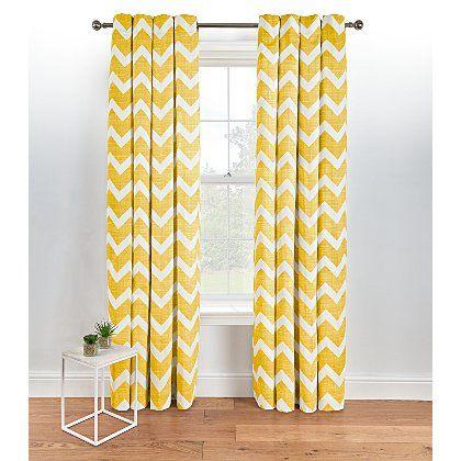 Chevron Eyelet Curtains - Yellow | Home & Garden | George