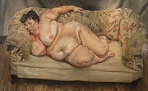 "Lucian Freud - Benefits Supervisor Sleeping, 1995, a very large portrait of ""Big Sue"" Tilley (see below), showing his handling of flesh tones, and a typical high viewpoint.he painting held the world record for the highest price paid for a painting by a living artist, of US$33.6 million (£17.2 million).[3] It was sold at Christie's in New York in May 2008 to Roman Abramovich-Wikipedia, the free encyclopedia"