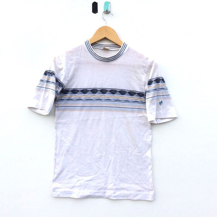 VINTAGE HANG TEN STRIPED SHIRT SURF 70's 80's SKATE HAWAII OCEAN  #HangTen #BasicTee