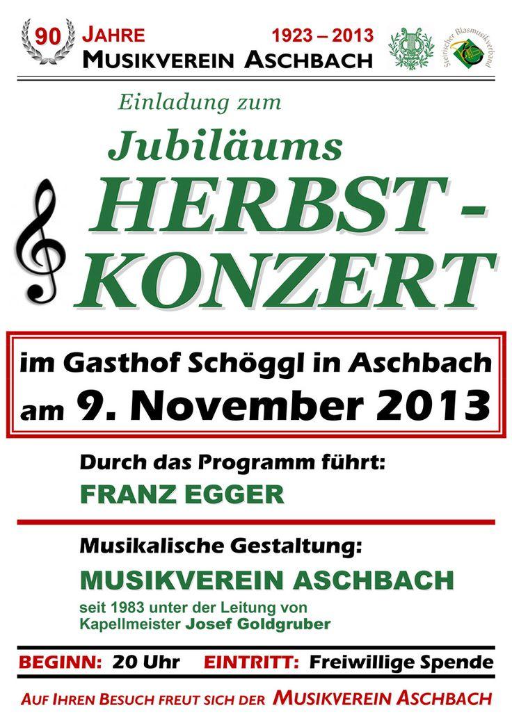 Termintipp: Jubiläums-Herbstkonzert MV Aschbach